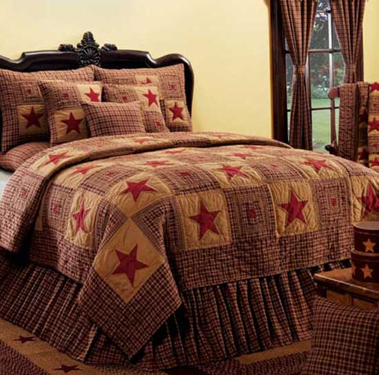Vintage Star Wine Quilt Bedding By Ihf Home Decor