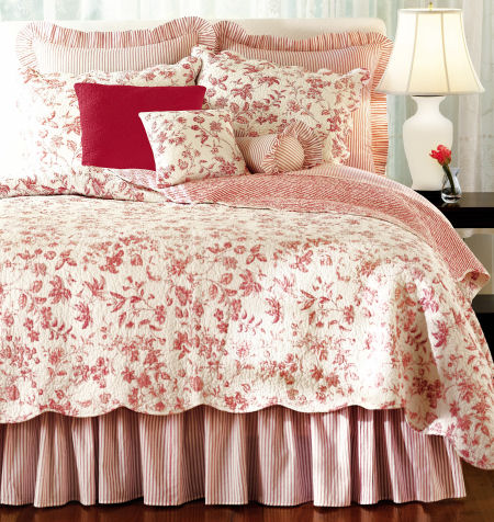 Brighton Red Toile Bedding
