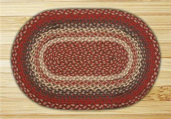 "Burgundy Oval Braided Rug 20""x30"""