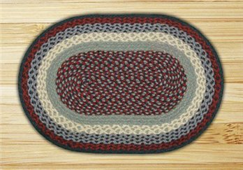 "Blue & Burgundy Oval Braided Rug 20""x30"""