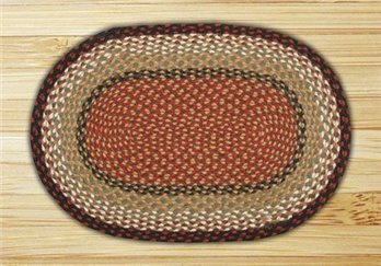 "Burgundy & Mustard Oval Braided Rug 20""x30"""