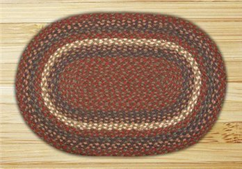 "Burgundy & Gray Oval Braided Rug 20""x30"""