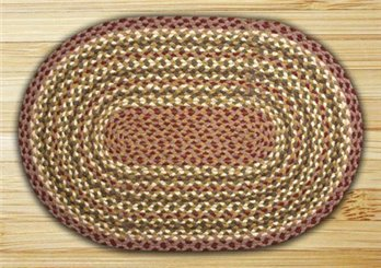 "Olive, Burgundy, Ivory & Gray Oval Braided Rug 20""x30"""