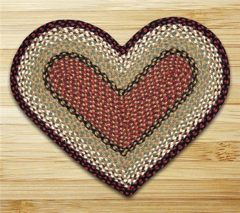 "Burgundy & Mustard Heart Shaped Braided Rug 20""x30"""