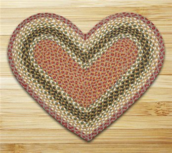 "Olive, Burgundy & Gray Heart Shaped Braided Rug 20""x30"""