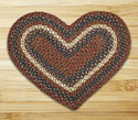 "Burgundy & Gray Heart Shaped Braided Rug 20""x30"""