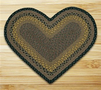 "Brown, Black & Charcoal Heart Shaped Braided Rug 20""x30"""