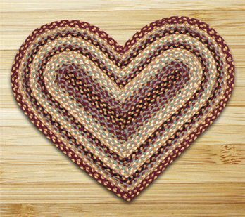 "Burgundy, Gray & Cream Heart Shaped Braided Rug 20""x30"""