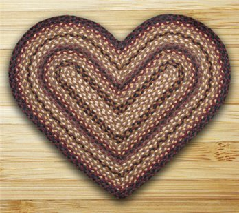 "Black Cherry, Chocolate & Cream Heart Shaped Braided Rug 20""x30"""