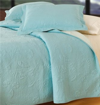 Shell Matelasse Blue Shell Twin Quilt