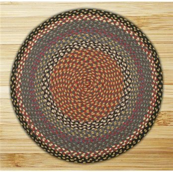 Burgundy, Blue & Gray Round Braided Rug 4'x4'