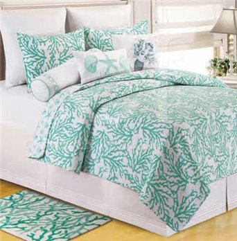 Cora Seafoam Full Queen Quilt