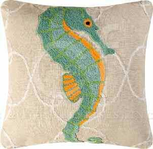 Washed Ashore Tufted Seahorse Pillow