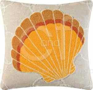 Washed Ashore Tufted Scallop Shell Pillow