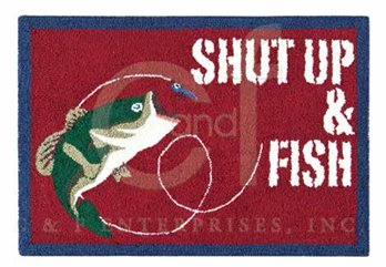 Gibson Lake Shut Up & Fish Hooked Rug