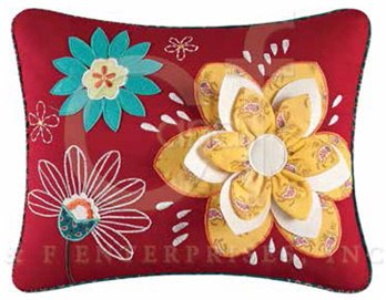 Dezra Applique Flowers Pillow