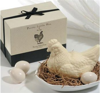 Gianna Rose Hen with Eggs Soaps in Porcelain Dish