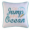 Zuma Bay Jump in the Ocean Embroidered Pillow