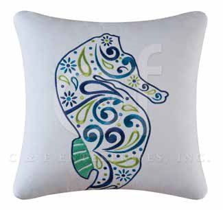 Imperial Coast Embroidered Seahorse Pillow