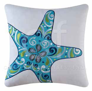 Imperial Coast Embroidered Starfish Pillow