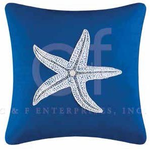 Fair Winds Embroidered Starfish Pillow