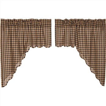 Navy Check Scalloped Swag Set of 2 36x36