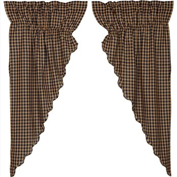 Navy Check Scalloped Prairie Curtain Set of 2 63x36