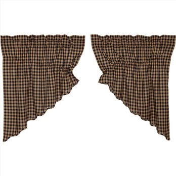 Navy Check Scalloped Prairie Swag Set of 2 36x36