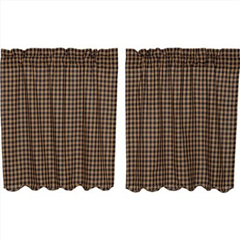 Navy Check Scalloped Tier Set of 2 36x36