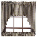 Black Check Scalloped Swag Set of 2 36x36