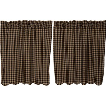 Black Check Scalloped Tier Set of 2 36x36