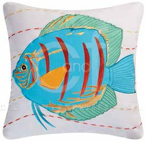 Captiva Island Blue Fish Embroidered Pillow