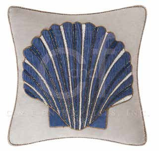 Indigo Sound Glass Beaded Scallop Shell Pillow