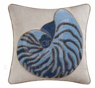 Indigo Sound Glass Beaded Nautilus Shell Pillow