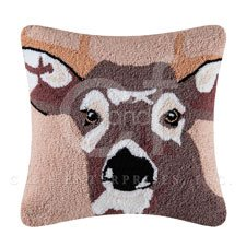 Hillside Haven Hooked Deer Face Pillow