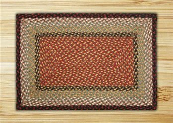 "Burgundy & Mustard Rectangle Braided Rug 20""x30"""