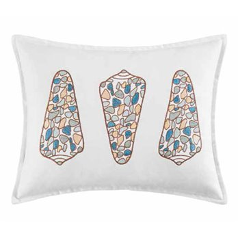 Cabana Bay 3 Shells Embroidered Pillow