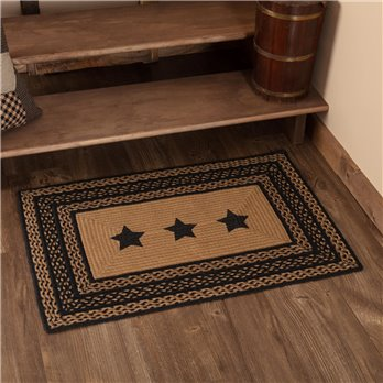 Farmhouse Jute Rug Rectangular Stencil Stars 24x36