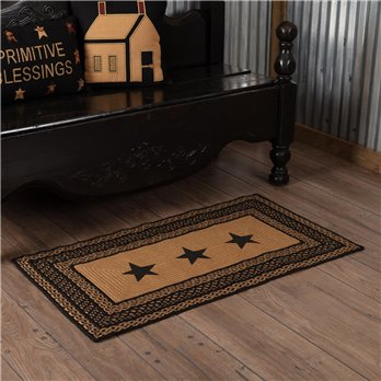 Farmhouse Jute Rug Rectangular Stencil Stars 27x48