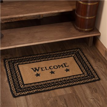 Farmhouse Jute Rug Rectangular Stencil Welcome 20x30
