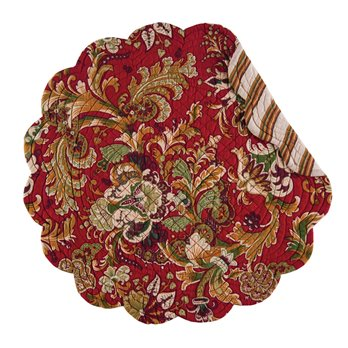 Jocelyn Red Round Quilted Placemat