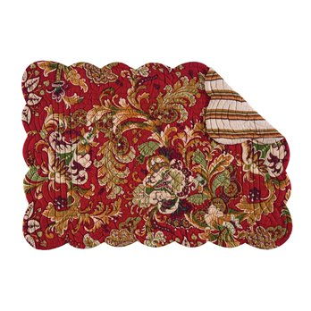 Jocelyn Red Rectangular Quilted Placemat