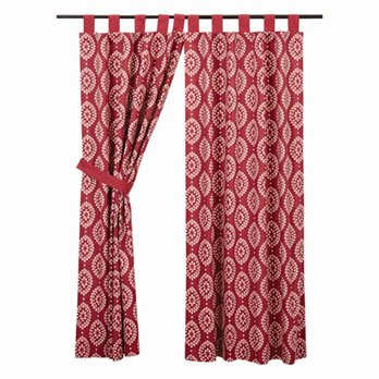 Paloma Crimson Tab Top Short Panel Lined Set of 2 63x36
