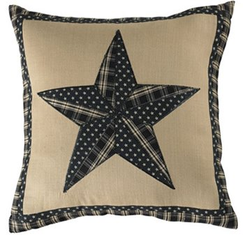 "Sturbridge Patch Black 16"" Star Pillow"
