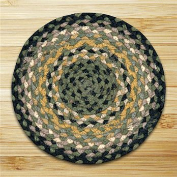"Black, Mustard & Cream Round Swatch 10""x10"""