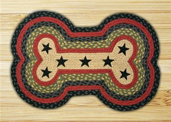 "Black Stars Dog Bone Shaped Braided Rug 18""x28"""
