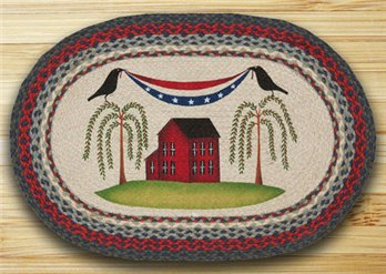 "Patriotic Crow Braided and Printed Oval Rug 20""x30"""