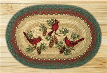 "Cardinals Braided and Printed Oval Rug 20""x30"""