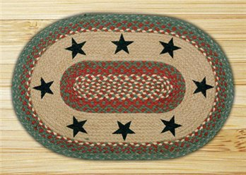 "Green Stars Braided and Printed Oval Rug 20""x30"""