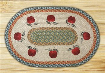 "Apples Braided and Printed Oval Rug 20""x30"""
